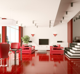 Modern apartment with red tiled floor interior panorama 3d render